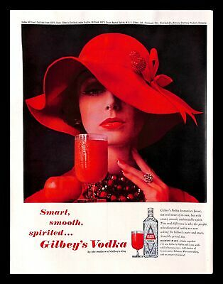 1962 Gilbey's Vodka Vintage PRINT AD Bloody Mary Alcohol Drink Fashion Woman Hat