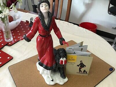 Rodin Porcelain Figurine By Di Kaye, Lady And Dog, Art Deco
