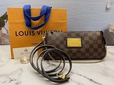 💕Auth Louis Vuitton Eva Damiar Ebene Clutch Crossbody (DU0122) + Shopping Bag💕