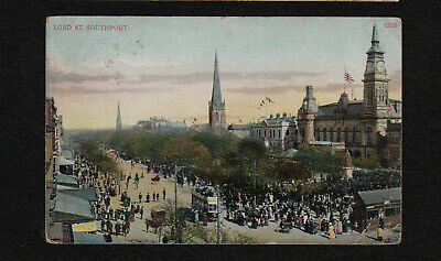 s2402)  STREET SCENE POSTCARD OF LORD STREET, SOUTHPORT ENGLAND UK  FROM 1907