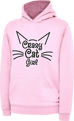 Girls Childs Funny Crazy Cat Girl Gift Hoody Hoodie Hooded Sweatshirt Cat Lover