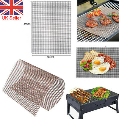 3X BBQ Grill Mesh Non-Stick Mat Reusable Sheet Resistant Cooking Baking Barbecue