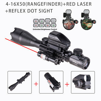 Pinty 3in1 4-16x50EG Rifle Scope Range Finder Reticle Red laser Reflex Dot Sight