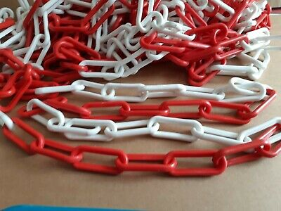 Red and White garden  post barrier Plastic safety Chain links 9cmx3.5 x 25m