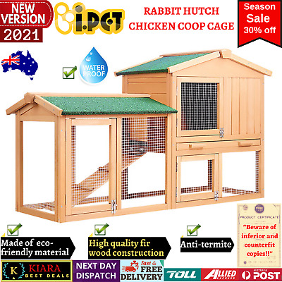 New RABBIT HUTCH CHICKEN COOP CAGE Guinea Pig House Ferret Pet Coup Run Hen Pen