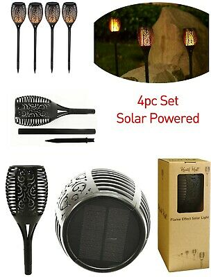 4pc Solar Flame Garden Light Patio Lighting decorating Flaming Effect