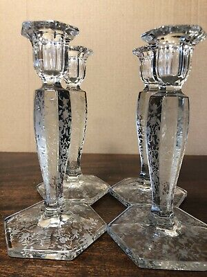 4 waterford?1920's Acid Etched Matching Floral Glass Candlesticks MINT Condition