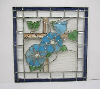 "Vtg Leaded Slag Stained Glass Window Panel Blue Flower Floral Cross 17"" Square"