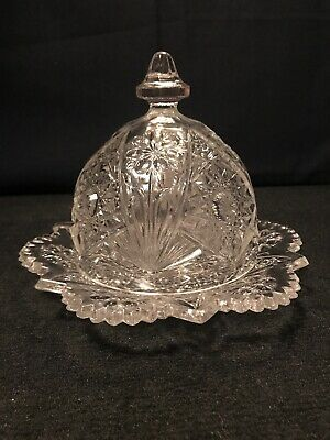 Imperial Glass Covered Butter Serving Dish Stunning Dish Perfect Condition C