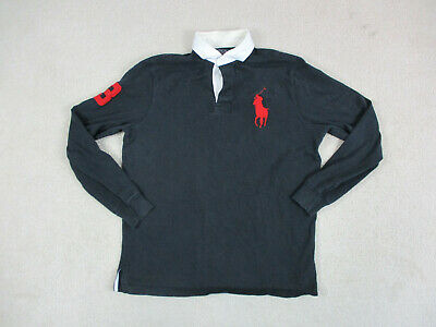 Ralph Lauren Polo Shirt Adult Medum Black Red Long Sleeve Big Pony Rugby Mens