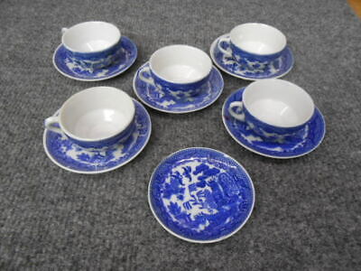 Antique Child's Cups & Saucers Blue Willow Dish Set