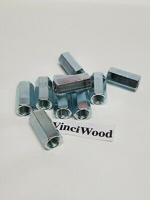 """3/8-24 x 1-1/8"""" (10) Hex Coupling Nut, Zinc Plated. 1/2"""" wide. Fine thread."""