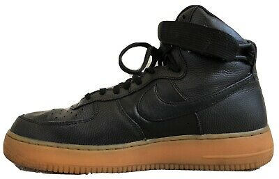 NIKE AIR FORCE 1 black leather High-Top UNISEX trainers - UK7.5 - 8 for BEST FIT
