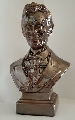 "Lincoln Bust Bronze Luster Finish Beautiful Ceramic 13"" Tall"