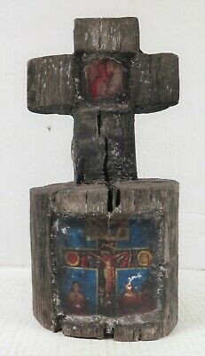 Folk Art Mesquite Cross w/ Inlain Paper Saint - Mexico.