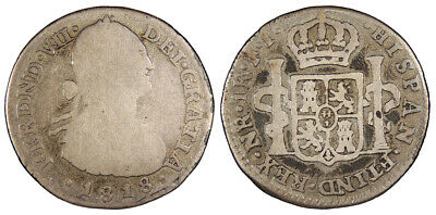 COLOMBIA Ferdinand VII 1818-NR FJ Real Inverted J About Fine
