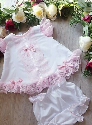 Baby Girls Pretty Frilly Spanish   Dress  & Bloomers . Lace Trim White/Pink Lace