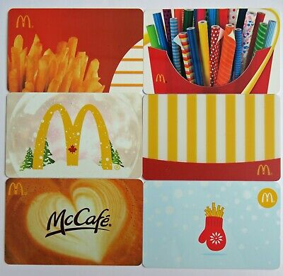 McDonald's Canada Gift Cards • Set of 6 Used Cards with No Cash Value