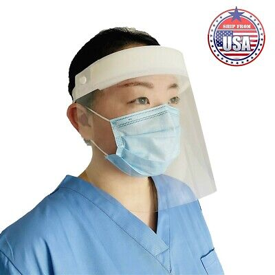 (10 Pcs) White Safety Face Shield, Full-face Protection, Reusable Washable, Lot
