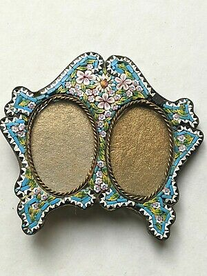 A Tiny Antique Double Mosaic Easel Picture Frame