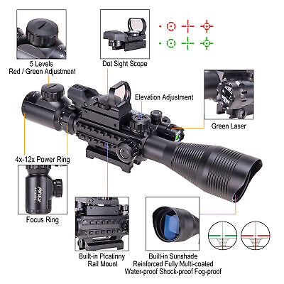 4-12x50 EG Rifle Scope lluminated W. Green Laser Sight&Red/Green Dot Sight Pinty
