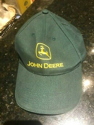 John Deere Caps x 2-Nice pair with logos-One Size Fits Most-100% Cotton-Fab Lot.