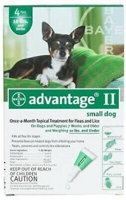 Bayer Advantage II For Small Dogs under 10lbs - 4 Pack - FREE Shipping!