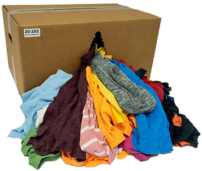 Colored Knit Rags 50 LB Box - T-Shirt Wiping Cleaning Cloths