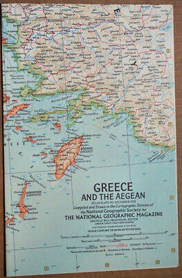 "1958 National Geographic vtg Atlas Map Plate #40 Greece & Agean 19 x 25"" MINT #1"