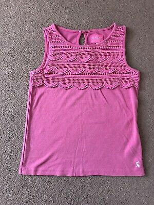 Girls Joules crochet lace embellished vest top pink age 9-10 Yrs Good Condition