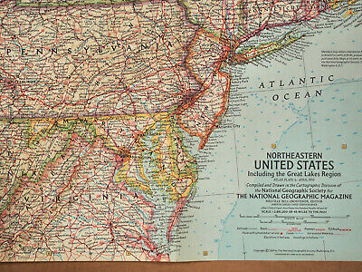 """1959 National Geographic Atlas Map Plate #6  N E United States 19 x 25"""" MINT #2"""