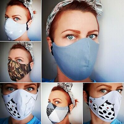FACE MASK 100% cotton fabric- REVERSIBLE~Mouth~Nose Protection,Handmade,Eco