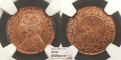 INDIA Victoria 1901 1/12 Anna NGC MS-64 RB