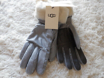 UGG FONTANNE Silver Shearling Leather Trim Tech Gloves Size S / M New