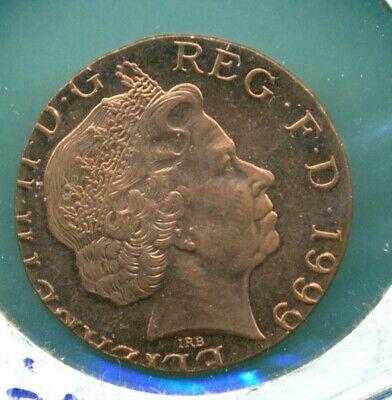 1999 Great Britain 2 Pence Struck on Wrong Planchet Error Coin 3.6 Grams BU