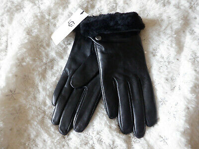 Ugg Genuine Dyed Shearling Trimmed Leather Shorty Black Gloves Size S New