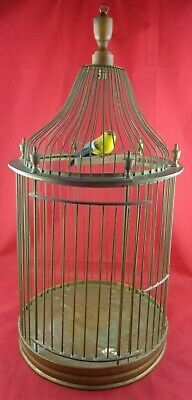 """23"""" Antique VICTORIAN Style BRASS & WOOD Hanging BIRDCAGE Old CAGE for BIRD"""