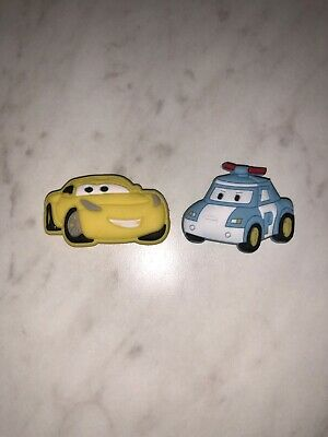 DISNEY CARS 2pc set SHOE CHARMS LOT FOR CROC SHOE JIBBITZ BRACELETS