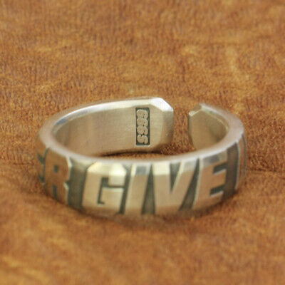 999 Pure Silver Words Engraved Ring NEVER GIVE UP Mens Biker Punk Ring 9Y025A