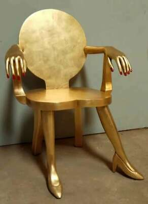 Lady Chair Solid Mahogany French Rococo Antique Louis Style Gilt Finish