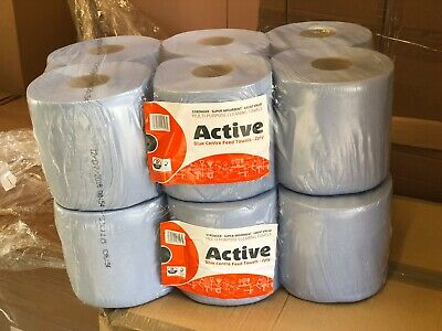 6 rolls x ACTIVE Blue Centrefeed Embossed 2ply Wiper Paper Towel 60M Per Roll