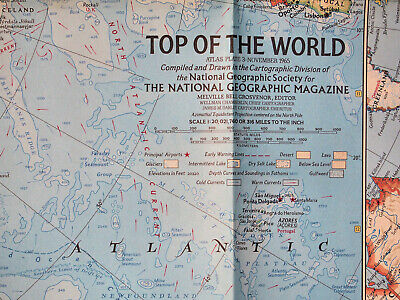 "1965 National Geographic vtg Atlas Map Plate #3 Top of the World 19 x 25"" MINT"