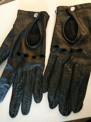 Vintage FOWNES Genuine Leather Womens Black Driving Gloves Sz L Pearl Snap Punk