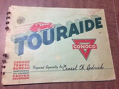 1938 Conoco Travel Club Touraid with Maps, Guides and Mail Forwarding Stamps