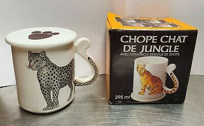 Vintage 1987 Jungle Cat Mug With Cover~ Panther