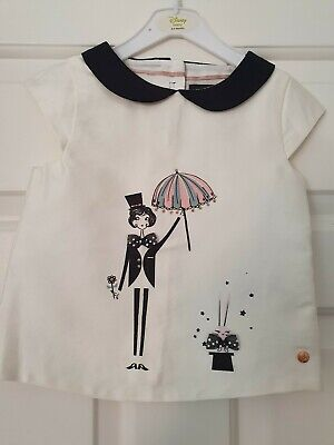 M&S Autograph Girls Black and Ivory Tshirt - Age 12-18 months