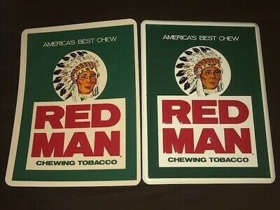"""Lot of 2 Vintage Red Man Chewing Tobacco Sign 12"""" X 16"""" Embossed Metal & Plastic"""