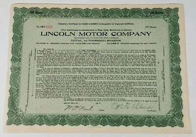Lincoln Motor Company c1920 Signed Temporary Stock Certificate 100 Share #4521