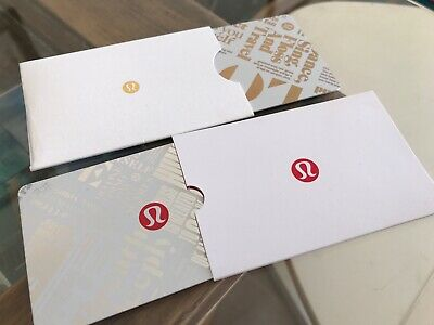 2 Lululemon Gift Card No Dollar Value, Collectible Gold Silver Red Logo Holiday