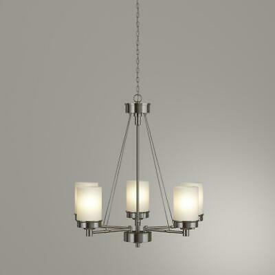 Details about Hampton Bay Burbank 5 Light Brushed Nickel Chandelier with Dual Glass Shades